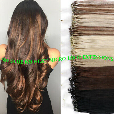 8A Russian Remy Micro Loop Bead Ring Real Human Hair Extensions MIXED COLOR 200S • 24.98£