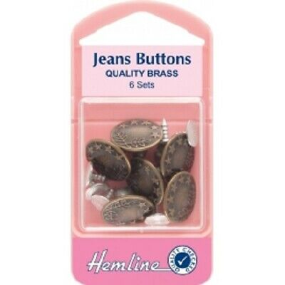 No Sew Jean Stud Buttons In Bronze- Hammer On With Pins - 6 X 16mm  • 3.59£