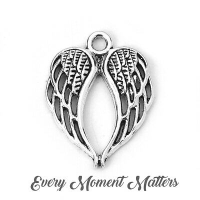 £2.39 • Buy 10 X Tibetan Antique Silver GUARDIAN ANGEL WINGS DOUBLE FAIRY 22x17mm Charms
