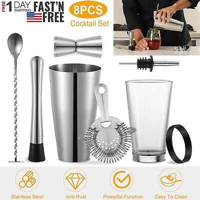 8x Pro Cocktail Shaker Set Drink Mixing Bartender Mixer Bar Kit Stainless Steel • 22.66$