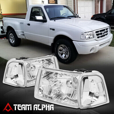$86.89 • Buy Fits 2001-2011 Ford Ranger [Chrome/Clear] Crystal Corner Headlight Headlamp Lamp