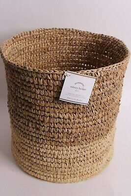 $14.96 • Buy NIP Pottery Barn Sidney Small Two Tone Floor Tote Storage Basket Bin Sisal