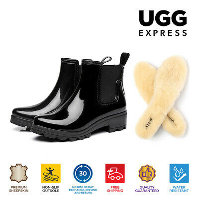 AU59 • Buy 【EXTRA17%OFF】UGG Women PVC Gumboots Rain Boots Black Boots Sheepskin Wool