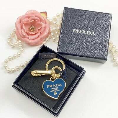 1d9d5f31a29936 PRADA Bag Charm Key Chain Heart Blue Gold Tone Trinkets NWT • 186.35$