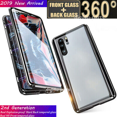 For Huawei P20/Mate 20 Pro P30 Pro/Lite Magnetic Tempered Glass 360° Cover Case • 8.95£