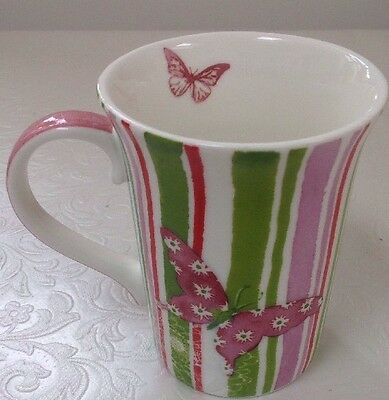 Lucy Cromwell Hallmark Bone China Mug. Butterfly In Matching Coloured Backdrop. • 2.75£
