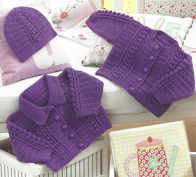 Premature Baby Doll Crochet Cardigan & Hat Pattern 12 To 22 Inch   (1481) • 1.89£