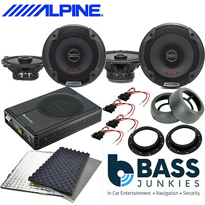 ALPINE Front+Rear Car Speakers+300W Underseat Sub+Deadening Full Kit For VW T6 • 349£