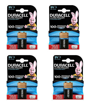 4 X Duracell 9v Pp3 Ultra Power Alkaline Batteries Pp3 Square Smoke Alarm • 10.80£