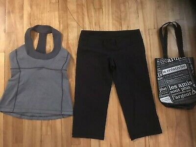 $ CDN40.50 • Buy Lululemon Lot Size 8 Scoop Neck Top Crops Pants & Tote Shopping Bag