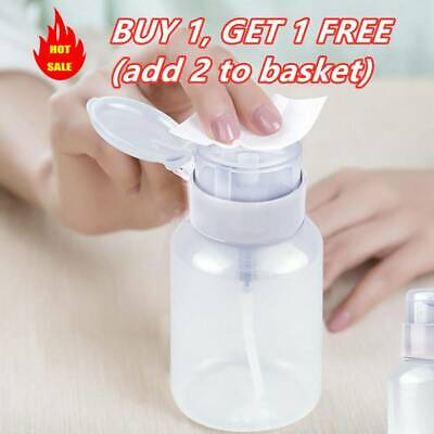 £2.45 • Buy New Push Down Empty Pump Dispenser For Nail Polish Remover Alcohol Clear Bottle