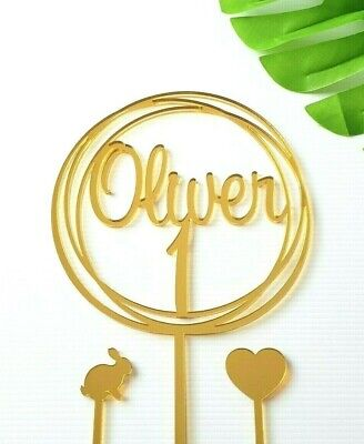 AU24 • Buy 1 Cake Topper Personalised Name Rustic Wood Acrylic Mirror 1st Birthday One