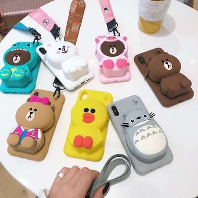 3D Choco Bear Cony Wallet Airpod Purse Phone Case For IPhone 11 Pro Max XR 6 7 8 • 4.99£