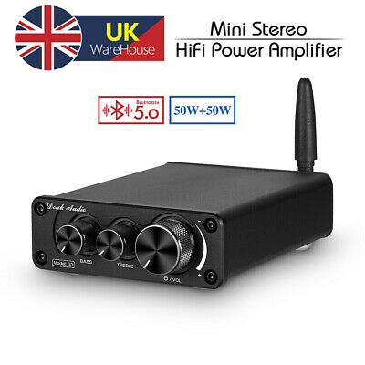 Mini Bluetooth 5.0 Power Amplifier 2.0 Channel HiFi Stereo Audio Amp Treble Bass • 39.99£