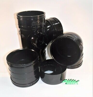 Solvent Weld WASTE Pipe FITTINGS And PIPE, BLACK, For 110 Mm OD Pipe • 10.99£
