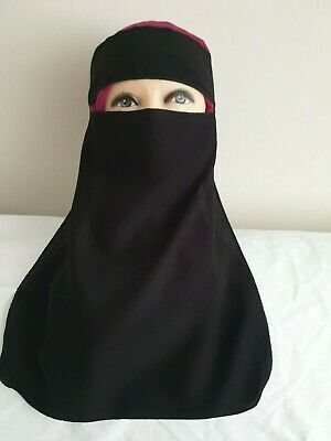 Black Single Layer  Niqab With Tie Back • 5.20£