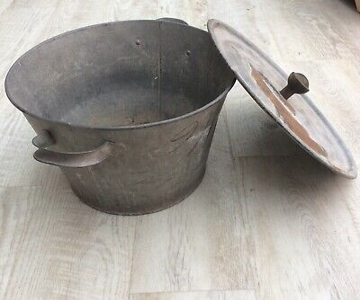 Vintage Galvanised Wash Tub,garden Planter. With Lid. 40cm Diameter. 24 Cm Tall. • 36£