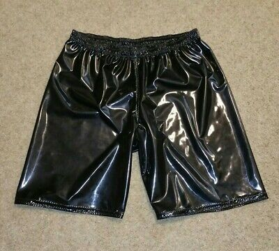 $59.99 • Buy Pro Wrestling Pleather Baggy SHORTS - Solid Black Authentic Ring Gear NEW