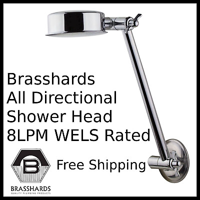 AU29.50 • Buy All Directional Shower Rose Head With Arm WELS 8LPM Rated Chrome Plated 1/2  BSP