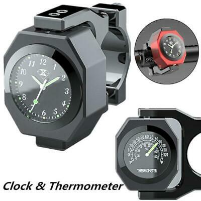 $25.99 • Buy Black Metal Motorcycle Handlebar Clock Watch Analogue Thermometer Temperature 1x