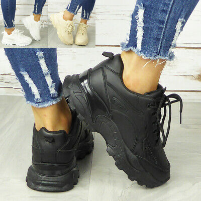 Women Chunky Trainer Ladies Running Gym Lace Up Goth Punk High Top Sneaker Boots • 19.99£