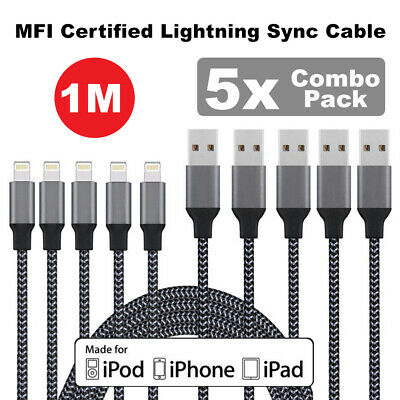 AU8.50 • Buy 5x MFI Certified Lightning Sync Cable Charger IPhone 5s 6 6s 7 Plus 8 X XS 1M AU