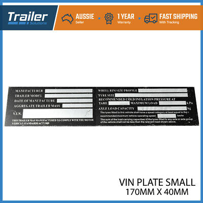 AU3.50 • Buy Trailer VIN Number Plate Compliance ID Tag Horse Float Caravan Boat Small Alumin