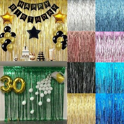 2M-3M Self Adhesive Foil Fringe Tinsel Shimmer Curtain Happy Birthday Party Door • 2.95£