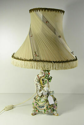 $ CDN526.64 • Buy Antique Porcelain Table Lamp Figurines Putti Angel Nude Lady Relief Flowers