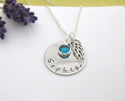 Angel Wing Necklace Personalised With Name & Birthstone Gift Boxed Silver Chain • 8.75£