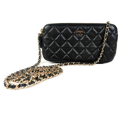 face4b24460c Chanel 2018 Caviar Wallet On A Chain Black Quilted Leather CC Crossbody Bag  Gold • 1,999.00