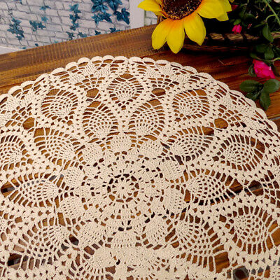 £6.89 • Buy Beige Tablecloth Handmade Crochet Cotton Doily Coffee Table Cloth Cover 24inch