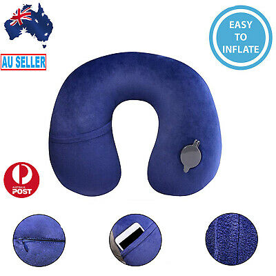 AU18.99 • Buy Inflatable Travel Pillow Air Cushion Neck Rest Compact For Flight Car Plane