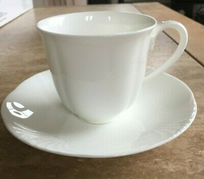 VILLEROY & BOCH ARCO WEISS White China TEACUP & SAUCER, Used Perfect Condition • 18£