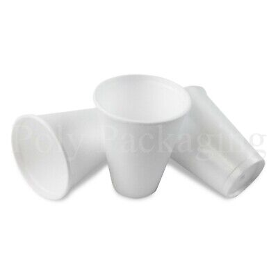 100 X SMALL 7oz Polystyrene Insulated Foam Cups Disposable Poly Tea/Coffee   • 6.50£
