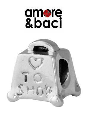 AMORE & BACI 925 Sterling Silver LOVE TO SHOP Charm Bead RRP £20, Purse Tote Bag • 9.95£
