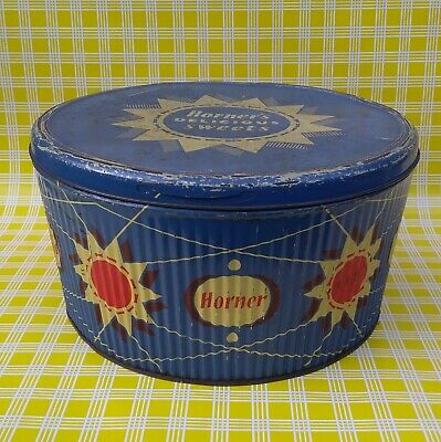 Vintage Large Horner Abstract Atomic 1950s Sweet Tin Mid Century Cake Storage  • 24.99£