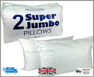 Extra Large Jumbo Pillows Hotel Quality Striped Pillows Pack Of 2 DELUXE PILLOW • 9.99£