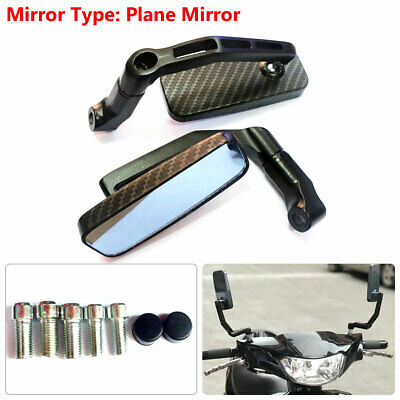 $15.29 • Buy Pair Rectangle Rear View Mirrors 8mm 10mm Carbon Fiber For Motorcycle Bike