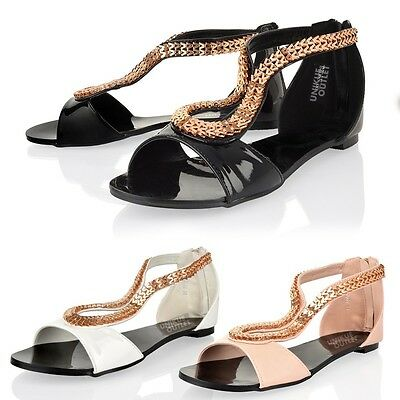 Womens Ladies Summer Open Toe Gladiator Flat Beach Party Sandals Shoes Size 3 • 8.99£