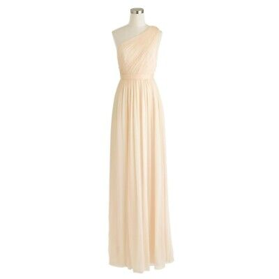 $34.99 • Buy NEW Champagne J CREW Dress One Shoulder Kylie Silk Chiffon Party Formal Large 12