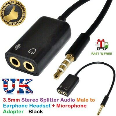 3.5mm Audio Headset Mic Y Splitter Cable Adapter TRRS To 2 TRS For Tabs, Laptops • 2.99£