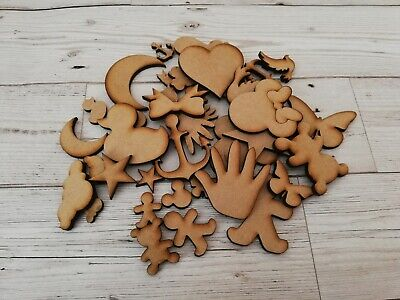 Wooden MDF Shapes Hearts Stars Butterfly & More Craft Embellishments Decoration • 1.50£