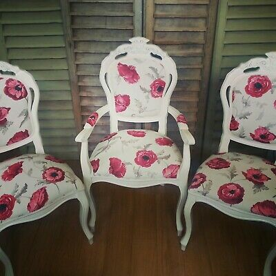 French Style Louis Carver Chair In Laura Ashley Freshford Poppy  • 215£