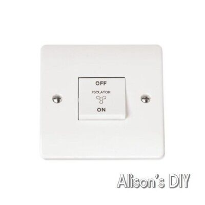 Bathroom Extractor Fan Isolation Switch 10 AX 1 Gang 3 Pole Std White Click Mode • 8.99£