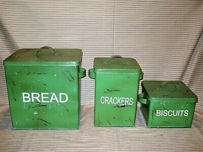 $95 • Buy Vintage Style Tin Large Bread Box Biscuits Crackers Canisters Distressed Green