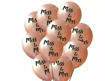 AU12.95 • Buy Miss To Mrs Rose Gold Balloons Hen's Party Bachelorette Favours Decoration
