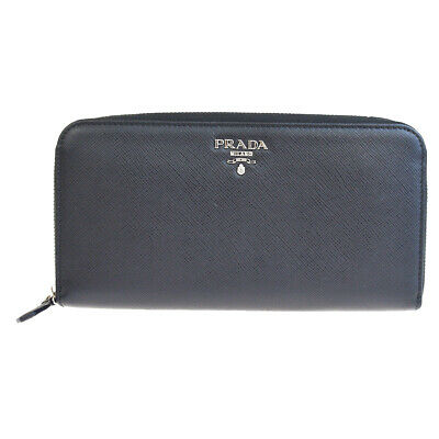 Auth PRADA MILANO Logos Zipper Long Wallet Purse Leather Black Italy 65SA096 • 264.91£