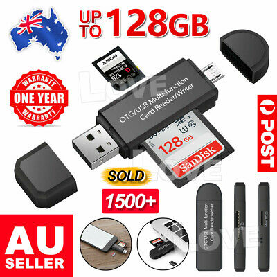 AU6.95 • Buy Micro USB OTG To USB 2.0 Adapter SD/Micro SD Card Reader For Smartphones/PC AU