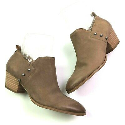 83fb8421456a4 Franco Sarto Graham Ankle Booties Boots Taupe Brown Leather Size 8.5  Studded • 16.80$